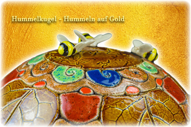 Hummelkugel - Hummeln auf Gold