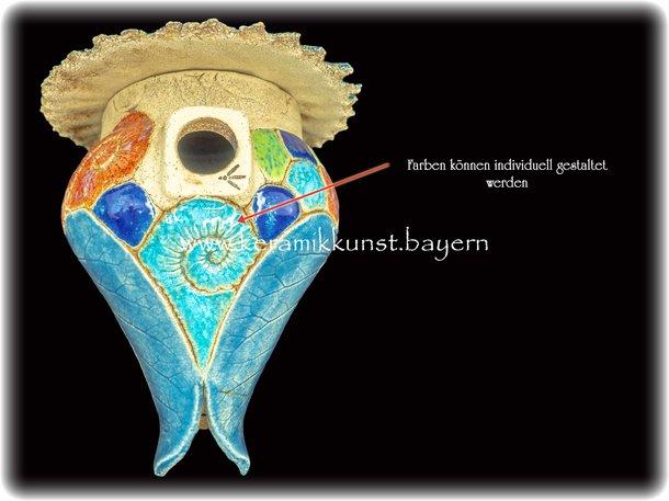 Vogelnistkasten Keramik Wasserblau