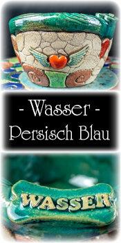 "Keramiknapf -L- ""Wasser"" Persisch Blau"
