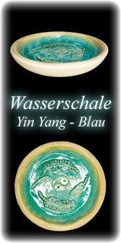 Vogelbadeschale - Yin Yang blau